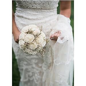 Medium Ivory Rustic Sola Flowers Wedding Bouquet 95