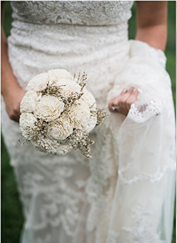Medium Ivory Rustic Sola Flowers Wedding Bouquet