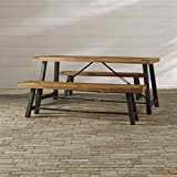 Outdor Picnic Table Set - 3 Piece Table and 2 Benches - Rustic Industrial Style - Wood and Metak Construction - Patio, Lawn, Garden Furniture Dining Set