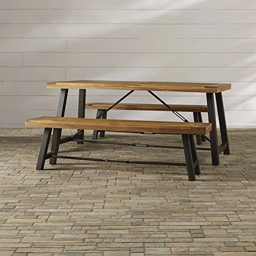 Outdor Picnic Table Set   3 Piece Table And 2 Benches   Rustic Industrial  Style