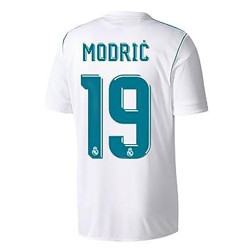 Camiseta del Real Madrid Home Modric N°.19 2017 2018, hombre, blanco: Amazon.es: Deportes y aire libre