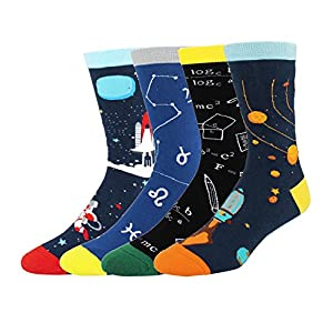 Men's 4 Pack Fun Cool Space Cotton Crew Funny Novelty Dress Socks Gift Box
