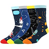 Happypop Novelty Funny Crazy Food Crew Socks Colorful Fun Cool Space Animal Dress Socks for Men