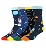 Novelty Cool Crazy Fun Crew Socks,Funny Gifts for Men,Colorful Cotton Dress Socks,Space Math Astronaut Rocket Constellation Design