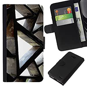 All Phone Most Case / Oferta Especial Cáscara Funda de cuero Monedero Cubierta de proteccion Caso / Wallet Case for LG OPTIMUS L90 // Building Architecture Polygon Engineering