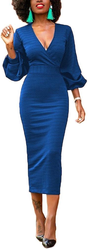 TALLA (EU 44-46)L. Lover-Beauty Vestido Mujer Elegante Largo Sexy Verano Moda Mujer Ropa Escote-V Manga Larga Ajustado Falda Manga Abullonada Maxi Rojo Suelto (EU 44-46)L