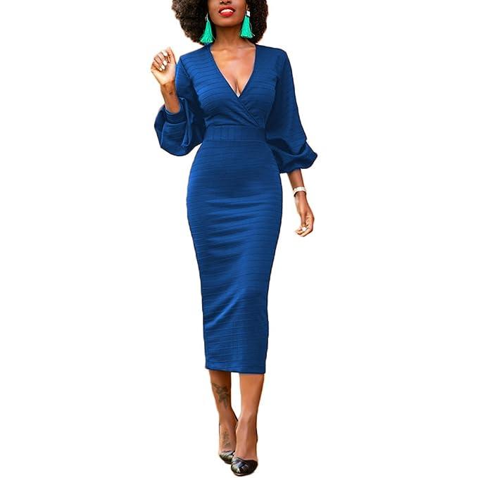 169196faa774 Lover-Beauty Vestido Mujer Elegante Largo Sexy Verano Moda Mujer Ropa  Escote-V Manga Larga Ajustado Falda Manga Abullonada Maxi: Amazon.es: Ropa  y ...
