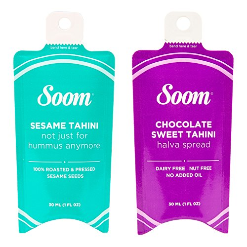 - Soom Foods Pure Ground Sesame Tahini Paste Two Flavor Squeeze Sampler: (1) Sesame Tahini 1.1oz and (1) Chocolate Sesame Tahini 1.1oz (24)