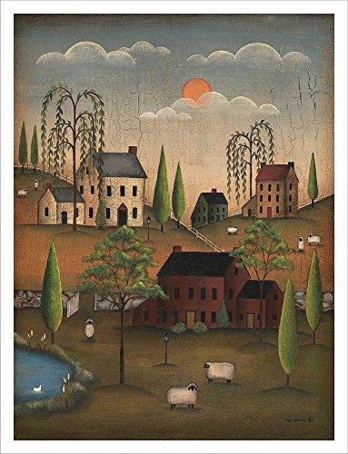 Village Sheep by Kim Lewis Laminated Art Print, 26 x 34 inches