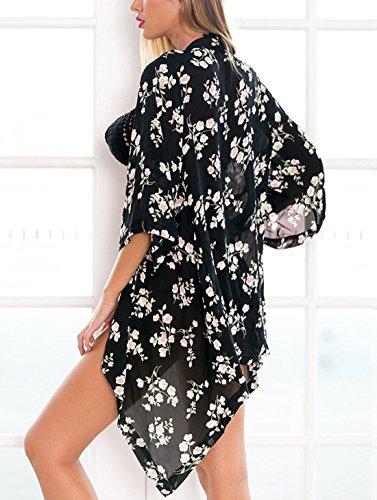 Relipop stampa 12 chiffon Type floreale ampia camicetta kimono donna in da FPxfwaFrq