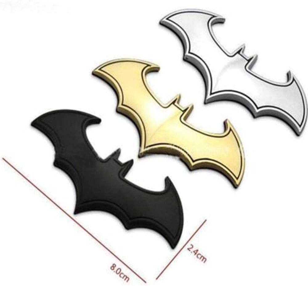 Motorcycle Room Bike 2PCS Mini Metal Car Stickers and Decals Bat Emblem Logo Bat Decor Bat Action Figures for Car Computer