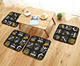 UHOO2018 Universal Chair Cushions Breakdance Bboy s in Poses Collection Logo and Badges Personalized Durable W15.5 x L15.5/4PCS Set