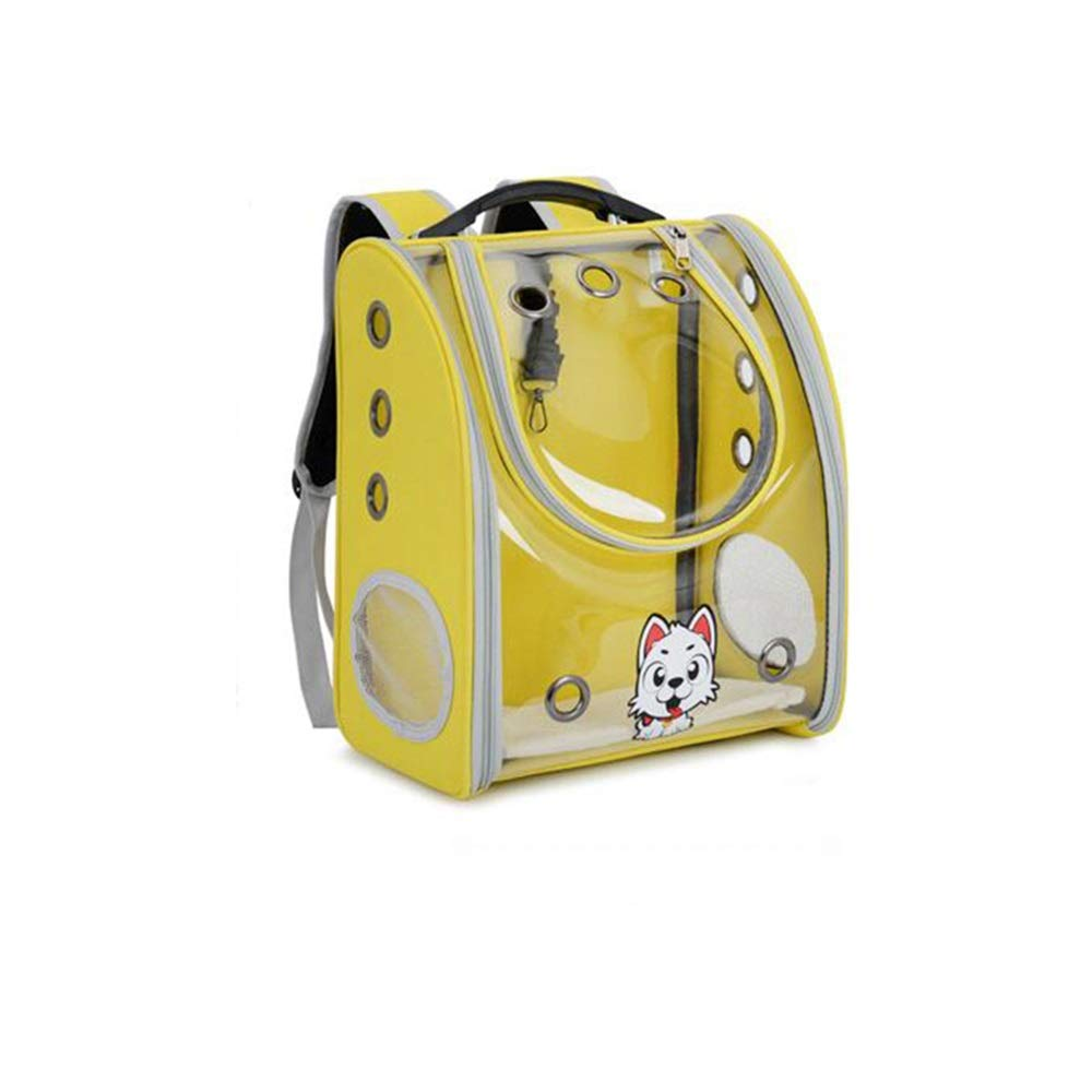 Yellow Douhuayu New Full Transparent pet Backpack Out Portable pet Dog cat Bag Breathable pet Bag (color   Yellow)