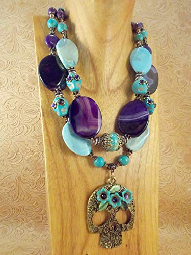 Western Cowgirl Necklace Set - Chunky Turquoise and Purple Agate - Sugar Skull - Mexican Turquoise Pendant