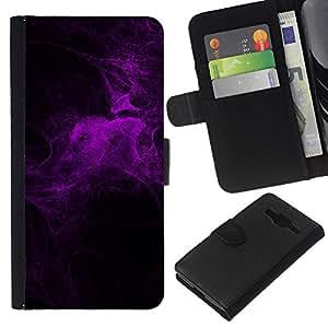 KingStore / Leather Etui en cuir / Samsung Galaxy Core Prime / Purple Light Ara?a Noche Web Bug Naturaleza