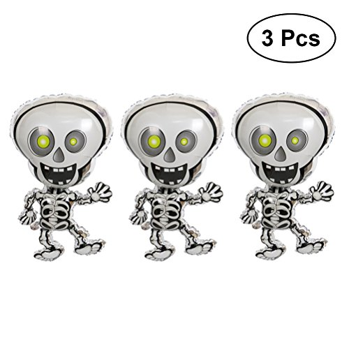 Toyvian Dancing Skeleton Balloons Halloween Foil Balloons Decoration 3pcs -