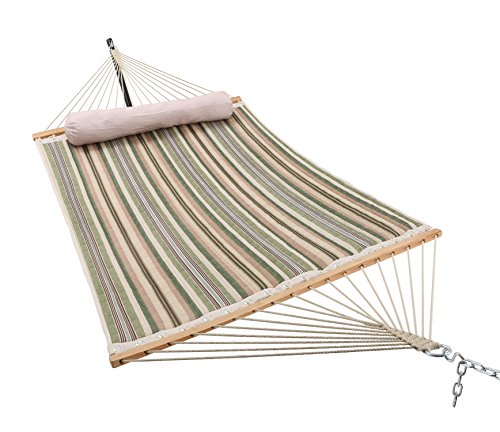 ELC 11 Feet Double Quilted Fabric Hammock with Pillow, Hammocks with Bamboo Spreader Bars and 2 Steel Chains, Perfect for Outdoor Patio Yard Hanging Hammock - -Dimensions: ELC double quilted hammock is large enough to hold 2 persons. The total length (from loop to loop) is 11-feet while the bed resting area is 75 inches Long x 55 inches Wide. Two steel S-hooks and two 13-inch chains for adjust. This hammock is designed to safely support a maximum capacity of 440 pounds. -Stable & Comfort: The double-layered quilted polyester with inner cotton padding and a polyethylene stuffing head pillow offer superior comfort. 55 inches durable bamboo wood spreader bar with powder coated in an oil rubbed finish keeps itself clean, making it more stable and maximizing style. -Easy to Use: Comes with a high quality quilted fabric rope hammock, detachable pillow, sturdy suspension rings, two steel S-hooks and two 13-inch chains for easy setup. Just hang it between two trees with straps or on a hammock stand (NOT INCLUDED). - patio-furniture, patio, hammocks - 512U0YBMh4L -
