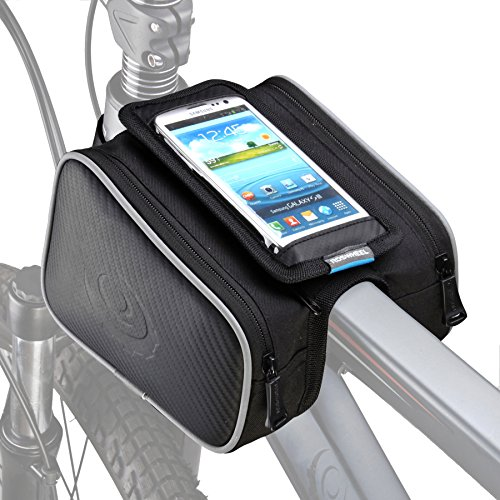 ArcEnCiel Bike Frame Bag Bicycle Top Tube Bag Cell Phone Bag Waterproof Sensitive Touch Screen (Double Pannier) (Send Phone Back To Samsung For Repair)