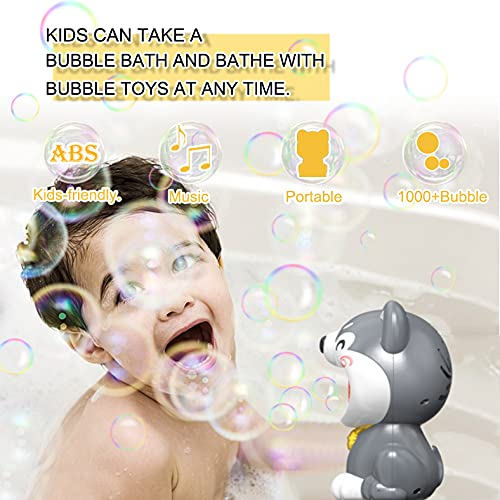 Bubble Machine for Kids, Dog Automatic Bubble Blower Maker with Solutions for Toddlers Baby Ages 4-8 Outdoor Bubbles Machine Toy for Birthday Wedding Parties, 1000+ Bubbles/Min