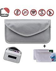 Newseego RFID Signal Blocker Pouch | 2X Free RFID Credit Card Sleeves | Anti Theft Faraday Bag for Car Key Fob & Cell Phone Blocking Pocket, Security Keyless Case, Anti-Hacking Secure Antitheft(Grey)