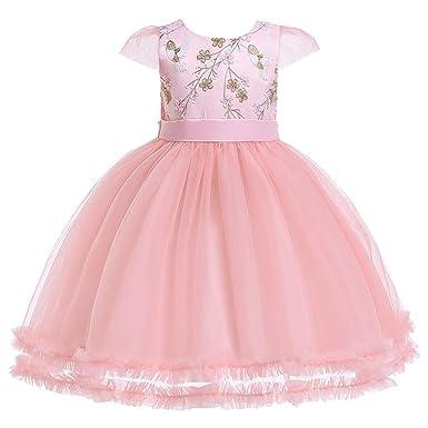 a070474b9846c Moneycom Jumpsuit Jupe Anniversaire Tulle Chic Ceremonie Mariage Tenues Ete  Floral Bébé Fille Princesse Demoiselle Honneur