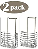 Ybmhome Over the Door Storage Basket Kitchen Cabinet Bathroom Shower Organization for Aluminum Foil, Sandwich Bags, Cleaning Supplies Chrome 2217-2 (2)