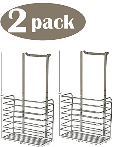 YBM HOME Ybmhome Over The Door Storage Basket Kitchen Cabinet Bathroom Shower Organization for Aluminum Foil, Sandwich Bags, Cleaning Supplies Chrome 2217-2 (2)