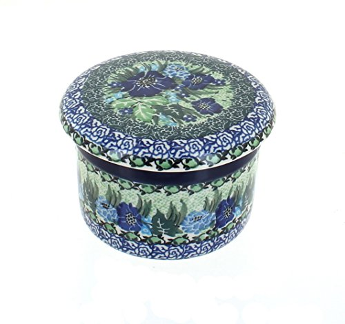 Blue Rose Polish Pottery Sapphire Fields French Butter Dish