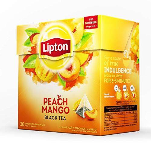 (Lipton Black Tea - Peach Mango - Premium Pyramid Tea Bags (20 Count Box) [PACK OF 3])
