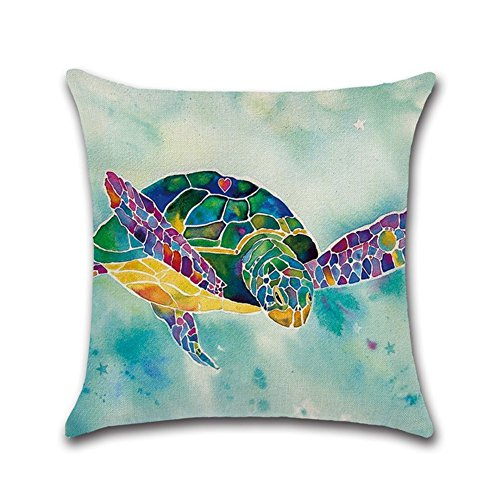 Decorbox Watercolor Turtle Sea Ocean Marine Animal Pattern 18x18 Inch Cotton Linen Square Throw Pillow Case Decorative Durable Cushion Slipcover Home Decor Standard Size Accent Pillowcase Slip Cover (Pillow Couch Slipcovers)