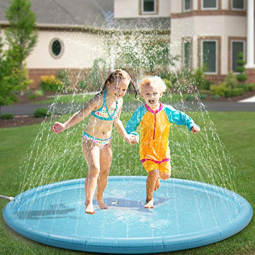 Ledivo Splash Pad& Sprinkler Mat 68'' Toddler Water Toys Fun for 1 2 3 4 5 6 Year Old Boys and Girls, Kids Outdoor Party Sprinkler Toy