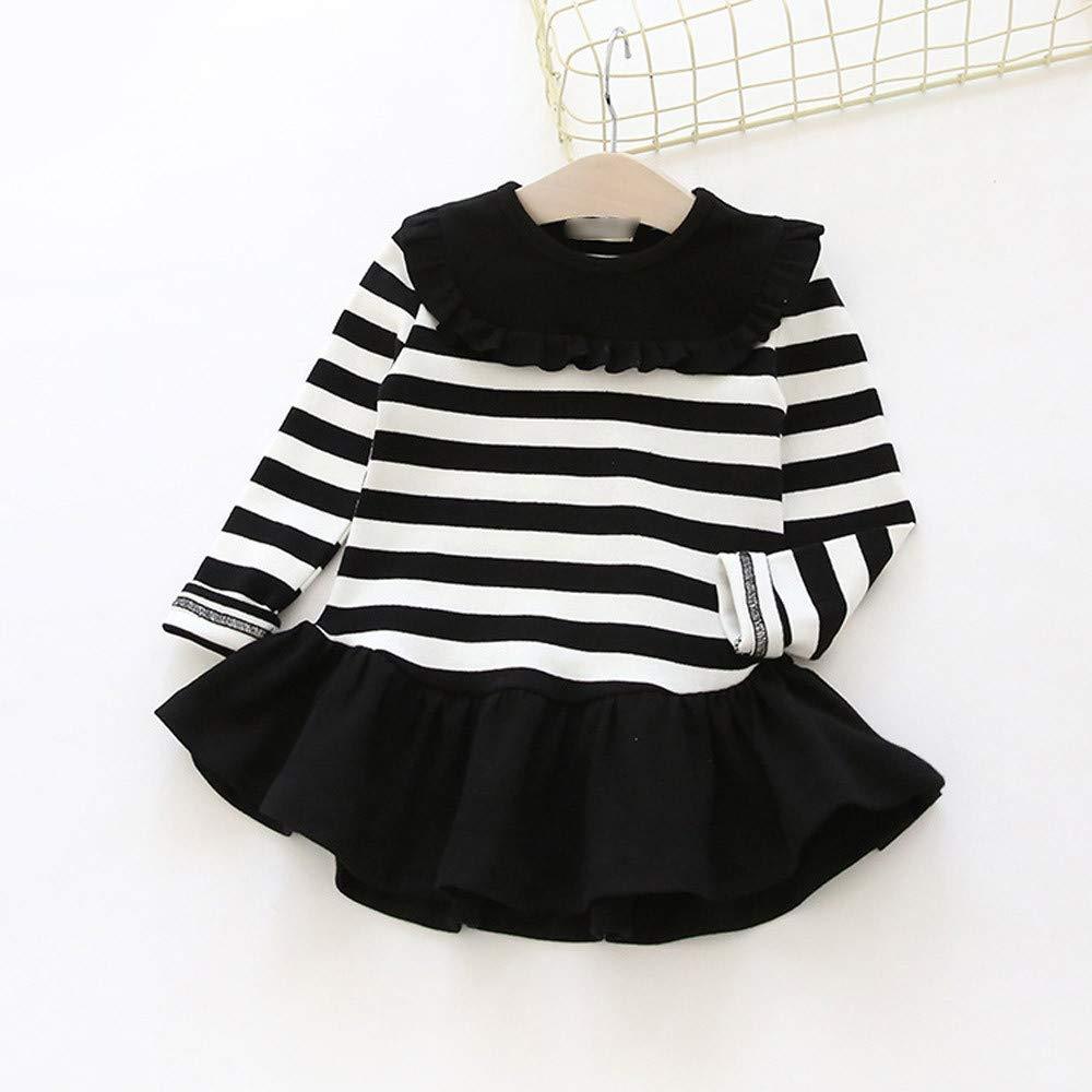 Baby Girl Dress Toddler Kids Little Girls Long Sleeve Striped Spring Autumn Party Princess Dress for 1-5 Y Jchen TM