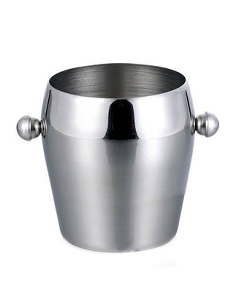 iecool Bar Thick Stainless Steel Single Drum Ice Bucket Silver 100oz