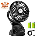 COMLIFE Battery Operated Clip On Oscillating Fan, USB Desk Fan with 4400mAh Rechargeable
