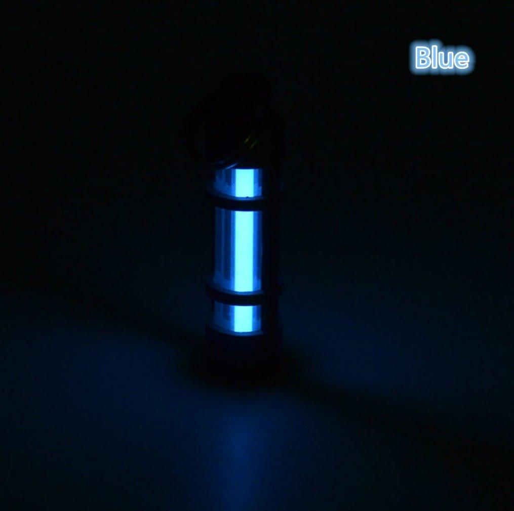 Porte-clés Tritium fioles Tube lampe Self lumineux 25ans fluorescent Fiole Porte-clés Hurricane lumières pour extérieur de survie d'urgence, bleu