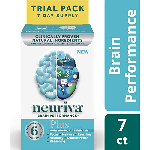 Fast-Acting Brain Supplement - NEURIVA Plus (7Count in a Bottle), Plus B6, B12 & Folic Acid, Supports 6 Indicators of Brain Performance: Focus, Memory, Learning, Accuracy, Concentration & Reasoning