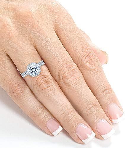 Kobelli Round Brilliant Moissanite Halo Bridal Wedding Rings Set 2 1/3 CTW 14k White Gold (FG/VS, GH/I)