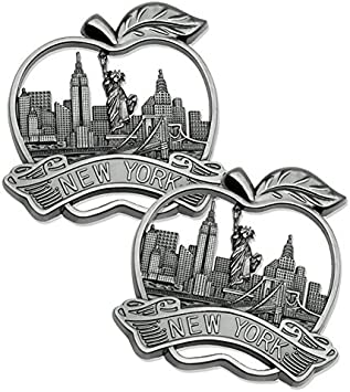 Colored Statue Of Liberty Empire State New York Buildings Souvenir Fridge Magnet