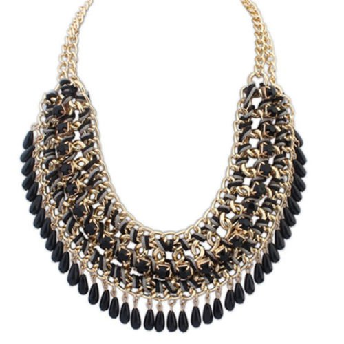 Women Fashion Jewelry Pendant Chain Crystal Choker Chunky Statement Bib Necklace Black.. ()