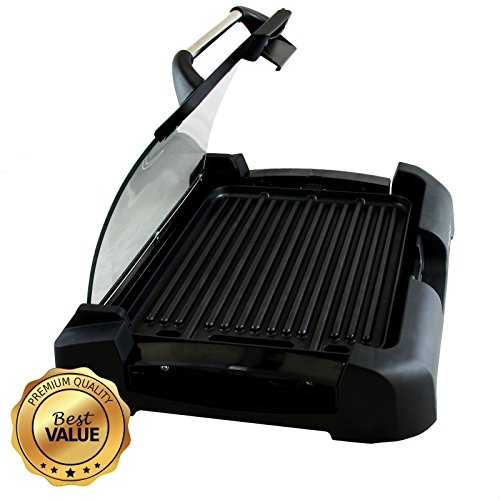 MegaChef Dual Surface Reversible Indoor Grill and Griddle with Removable Glass Lid (Indoor Electric Tabletop Grills)