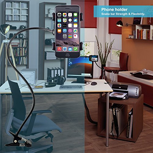 Phone Holder, Costech Heavy Duty Metal Gooseneck Long Arm Fashion Flexible Stand Lazy Bracket 360-degree Rotating Mount Clip on Holder for Iphone, Samsung, and More Other Mobile Phone (Black) by Costech (Image #4)