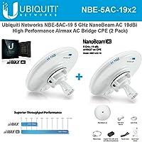 Ubiquiti NBE-5AC-19 5GHz NanoBeam AC 19dBi Airmax AC Bridge CPE airOS (2 Pack)