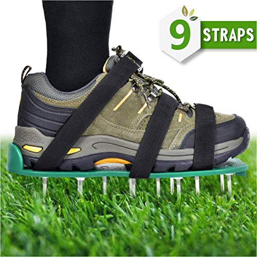 TIMESETL Lawn Aerator Shoes, 9 Adjustable Straps Zinc Alloy Buckles + 26 Long Spikes and Nut + 1 Wrench and Instructions Manual - Heavy Duty Spiked Sandals for Aerating Your Lawn or Yard