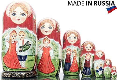 Nesting Doll - Russian Village 7 - Hand Painted in Russia - Big Size - Wooden Decoration Gift Doll - Matryoshka Babushka (Design G 8.25`` (7 Dolls in 1))
