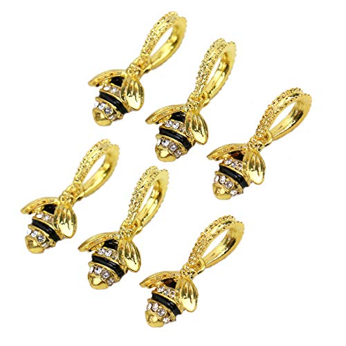 WSSROGY Pack of 10 Creative DIY Little Yellow Bee with Rhinestone Designed Charms Pendants for DIY Bracelets Necklaces Jewelry Making -