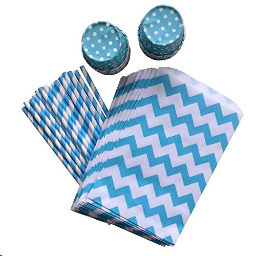 Outside the Box Papers Blue Party Goods Bundle with Favor Bags, Paper Straws and Candy/Nut Cups Pack of 24 Blue, White