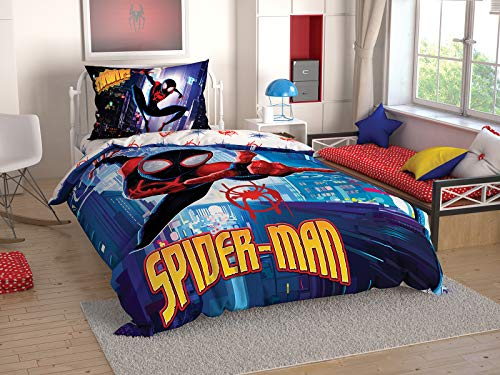 TAC Spiderman into The Spider - Verse Licenced Ranforce Single Twin Kid's Bedding Set Duvet Quilt Cover Set 3 pcs%100 ()