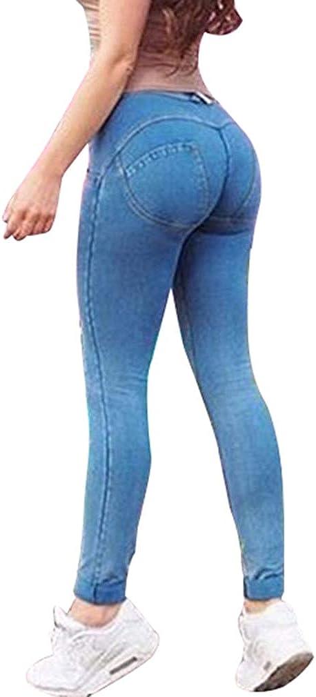 junkai Jeans Skinny da Donna Pantaloni a Vita Media Slim Fit Pantaloni Push up a Matita Pantaloni Elastici Skinny Jeggings per Donna
