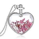 Usstore 1PC Women Dry Flower Heart Glass Wishing Necklace Bottle Pendants Partty Gift Alloy (E)