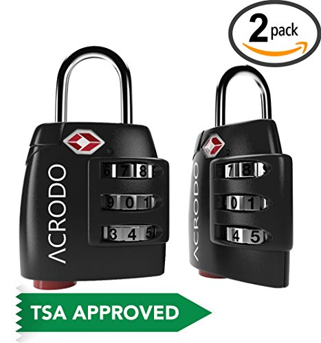 Luggage Locks TSA Approved 2 Pack - Steel Travel Padlocks for Suitcases & Baggage with Search Alert Indicator